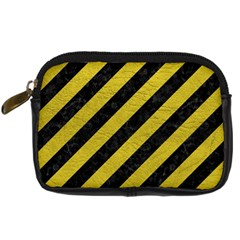 Stripes3 Black Marble & Yellow Leather (r) Digital Camera Cases