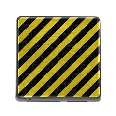 Stripes3 Black Marble & Yellow Leather (r) Memory Card Reader (square)