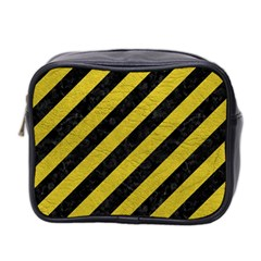 Stripes3 Black Marble & Yellow Leather (r) Mini Toiletries Bag 2 Side