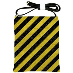 Stripes3 Black Marble & Yellow Leather (r) Shoulder Sling Bags