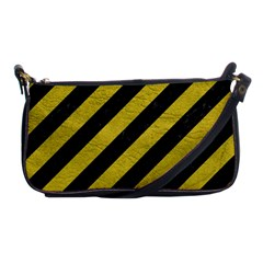 Stripes3 Black Marble & Yellow Leather (r) Shoulder Clutch Bags