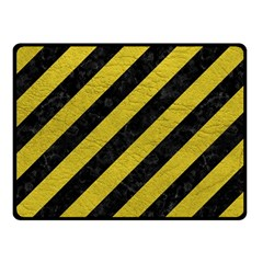 Stripes3 Black Marble & Yellow Leather (r) Fleece Blanket (small)