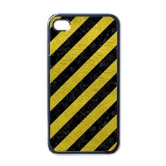 Stripes3 Black Marble & Yellow Leather (r) Apple Iphone 4 Case (black)