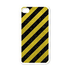 Stripes3 Black Marble & Yellow Leather (r) Apple Iphone 4 Case (white)