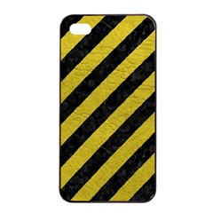 Stripes3 Black Marble & Yellow Leather (r) Apple Iphone 4/4s Seamless Case (black)
