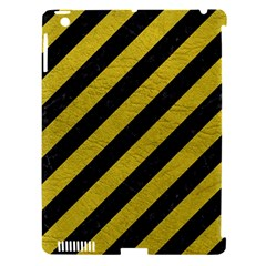Stripes3 Black Marble & Yellow Leather (r) Apple Ipad 3/4 Hardshell Case (compatible With Smart Cover)