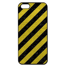 Stripes3 Black Marble & Yellow Leather (r) Apple Iphone 5 Seamless Case (black)
