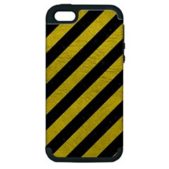 Stripes3 Black Marble & Yellow Leather (r) Apple Iphone 5 Hardshell Case (pc+silicone)
