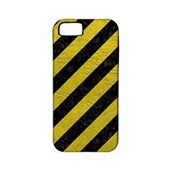 Stripes3 Black Marble & Yellow Leather (r) Apple Iphone 5 Classic Hardshell Case (pc+silicone)