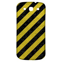 Stripes3 Black Marble & Yellow Leather (r) Samsung Galaxy S3 S Iii Classic Hardshell Back Case