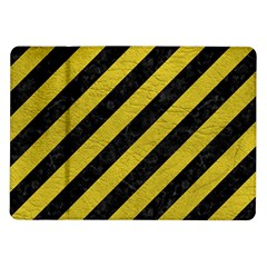 Stripes3 Black Marble & Yellow Leather (r) Samsung Galaxy Tab 10 1  P7500 Flip Case