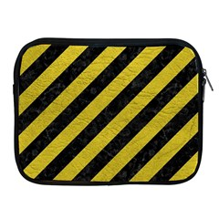 Stripes3 Black Marble & Yellow Leather (r) Apple Ipad 2/3/4 Zipper Cases