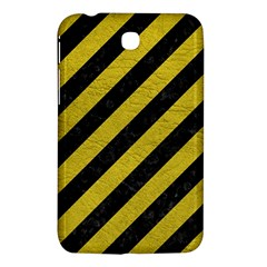 Stripes3 Black Marble & Yellow Leather (r) Samsung Galaxy Tab 3 (7 ) P3200 Hardshell Case