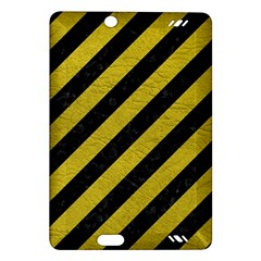 Stripes3 Black Marble & Yellow Leather (r) Amazon Kindle Fire Hd (2013) Hardshell Case