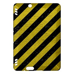 Stripes3 Black Marble & Yellow Leather (r) Kindle Fire Hdx Hardshell Case