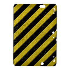 Stripes3 Black Marble & Yellow Leather (r) Kindle Fire Hdx 8 9  Hardshell Case