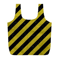 Stripes3 Black Marble & Yellow Leather (r) Full Print Recycle Bags (l)
