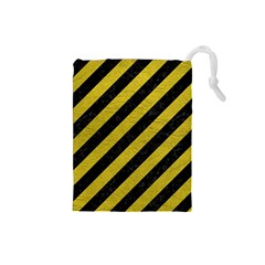 Stripes3 Black Marble & Yellow Leather (r) Drawstring Pouches (small)