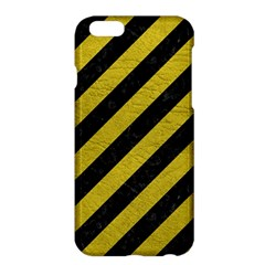 Stripes3 Black Marble & Yellow Leather (r) Apple Iphone 6 Plus/6s Plus Hardshell Case