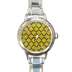 Tile1 Black Marble & Yellow Leather Round Italian Charm Watch