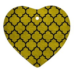 Tile1 Black Marble & Yellow Leather Ornament (heart)
