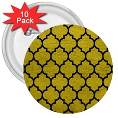 Tile1 Black Marble & Yellow Leather 3  Buttons (10 Pack)