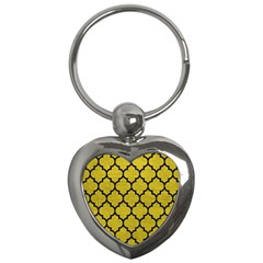 Tile1 Black Marble & Yellow Leather Key Chains (heart)