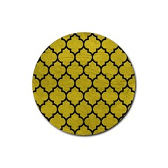 Tile1 Black Marble & Yellow Leather Rubber Coaster (round)