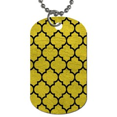 Tile1 Black Marble & Yellow Leather Dog Tag (two Sides)