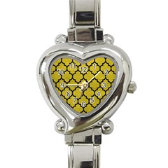 Tile1 Black Marble & Yellow Leather Heart Italian Charm Watch