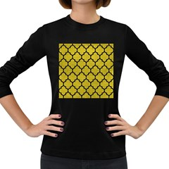 Tile1 Black Marble & Yellow Leather Women s Long Sleeve Dark T Shirts