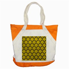 Tile1 Black Marble & Yellow Leather Accent Tote Bag