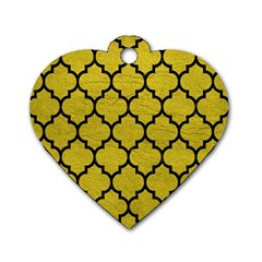 Tile1 Black Marble & Yellow Leather Dog Tag Heart (one Side)