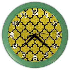 Tile1 Black Marble & Yellow Leather Color Wall Clocks