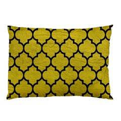 Tile1 Black Marble & Yellow Leather Pillow Case