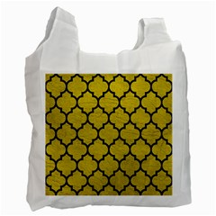 Tile1 Black Marble & Yellow Leather Recycle Bag (one Side)