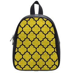 Tile1 Black Marble & Yellow Leather School Bag (small)