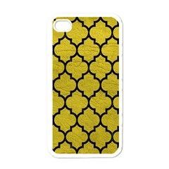 Tile1 Black Marble & Yellow Leather Apple Iphone 4 Case (white)