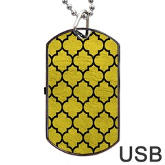 Tile1 Black Marble & Yellow Leather Dog Tag Usb Flash (two Sides)