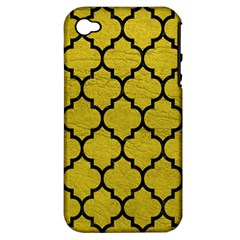 Tile1 Black Marble & Yellow Leather Apple Iphone 4/4s Hardshell Case (pc+silicone)