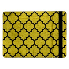 Tile1 Black Marble & Yellow Leather Samsung Galaxy Tab Pro 12 2  Flip Case