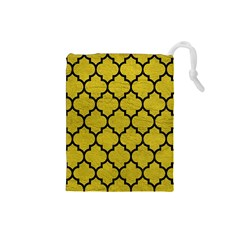Tile1 Black Marble & Yellow Leather Drawstring Pouches (small)