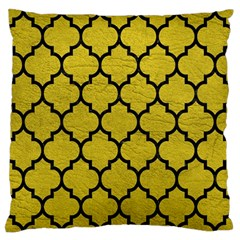 Tile1 Black Marble & Yellow Leather Large Flano Cushion Case (two Sides)