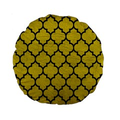 Tile1 Black Marble & Yellow Leather Standard 15  Premium Flano Round Cushions