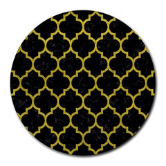 Tile1 Black Marble & Yellow Leather (r) Round Mousepads
