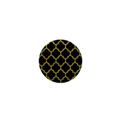 Tile1 Black Marble & Yellow Leather (r) 1  Mini Magnets
