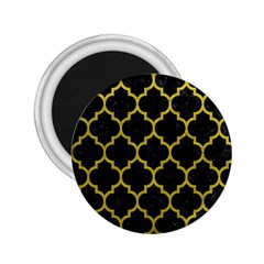 Tile1 Black Marble & Yellow Leather (r) 2 25  Magnets