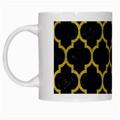 Tile1 Black Marble & Yellow Leather (r) White Mugs