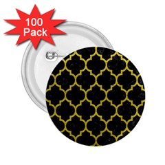 Tile1 Black Marble & Yellow Leather (r) 2 25  Buttons (100 Pack)