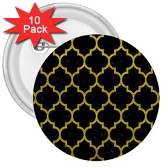 Tile1 Black Marble & Yellow Leather (r) 3  Buttons (10 Pack)